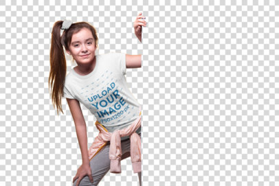 Transparent Girl with Ponytail Wearing a T-Shirt Mockup Coming Out of a Wall a19589