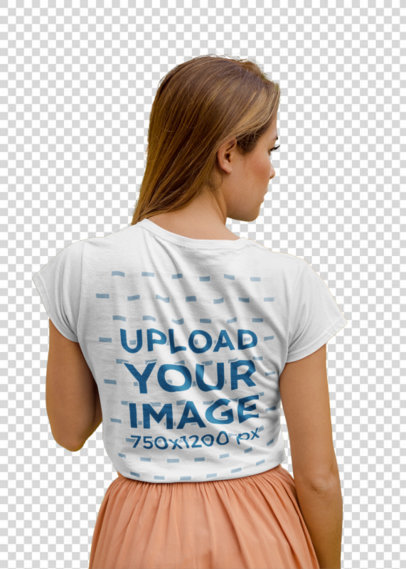 Transparent Back View T-Shirt Mockup of a Woman with Long Straight Hair 22505