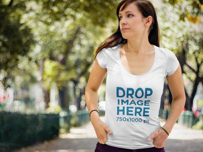 Transparent T-Shirt Mockup of Woman Walking Through a Park 5690a