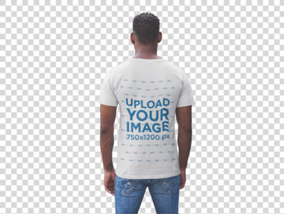 Transparent Back Shot T-Shirt Mockup of a Man Facing a Modern Stone Wall 20744