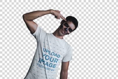 Transparent T-Shirt Mockup of a Man with His Fingers to His Temple 23034