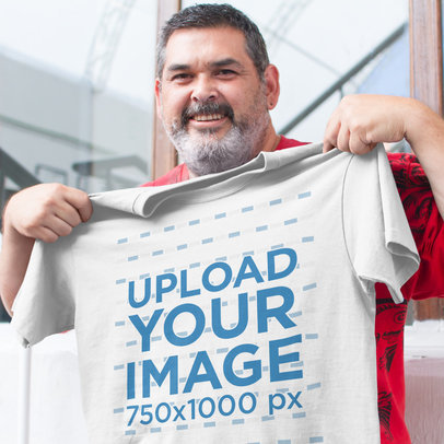 Transparent Happy Customer Showing Off His New Tshirt Mockup a15666