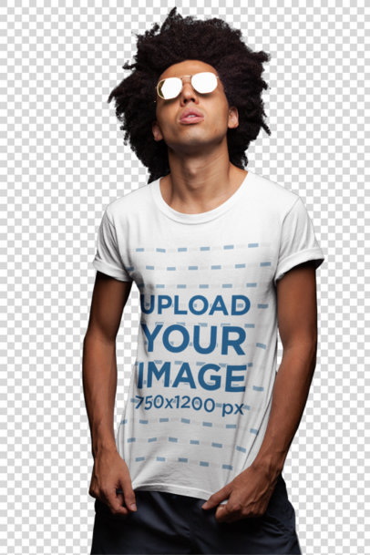 Transparent T-Shirt Mockup of a Man with Dark Glasses Under a Bright Light 22859