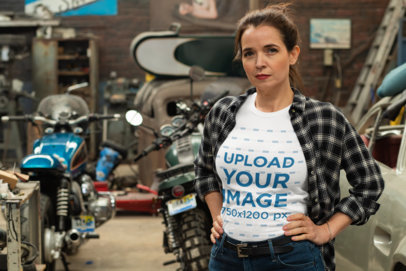 Transparent T-Shirt Mockup of a Woman Posing By Some Motorcycles 31848