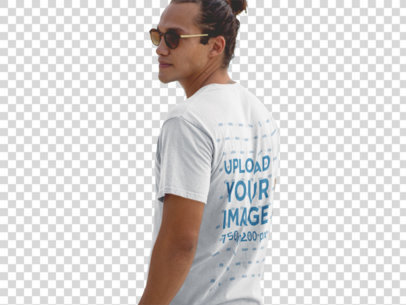 Transparent T-Shirt Mockup of a Hipster Guy Wearing Sunglasses at the Beach Shore a12726