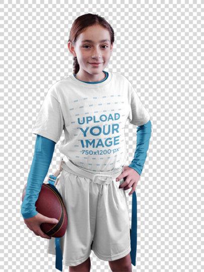 Transparent Custom Football Jerseys - Happy Girl in Studio a16530
