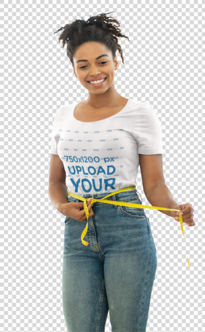 Transparent T-Shirt Mockup Featuring a Young Woman Measuring Her Waist 45723-r-el2