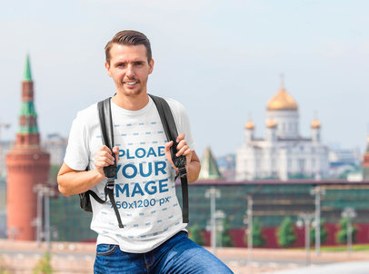 Transparent T-Shirt Mockup of a Tourist Man Backpacking in a City 39860-r-el2