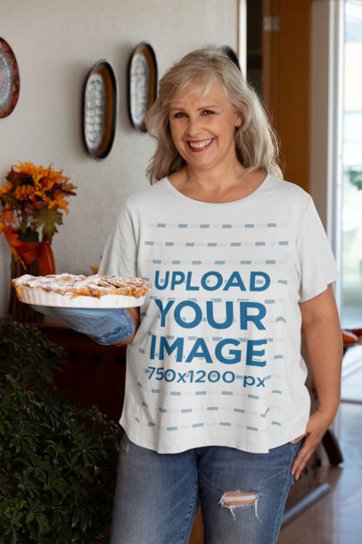 Transparent Mockup of a Woman Wearing a T-Shirt and Holding a Pie at Thanksgiving 29942