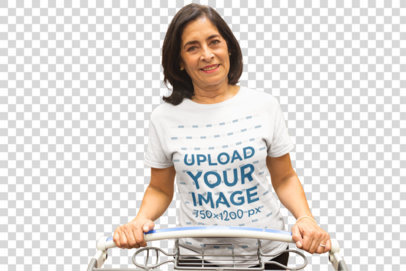 Transparent Senior Lady Wearing a T-Shirt Mockup while Grocery Shopping at the Supermarket a20356