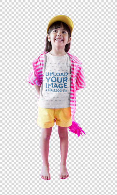 Transparent Smiling Girl Wearing a Tshirt Mockup in a  Fuchsia and White Room a19468