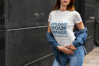 Transparent Cropped Face Mockup of a Woman Wearing a Customizable Crewneck T-Shirt by a Dark Wall 4301-el1