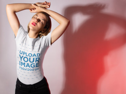 Transparent T-Shirt Mockup of a Woman in Ambient Lighting 18595