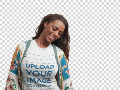 Transparent Mockup of a Happy Woman Wearing a T-Shirt at Home a21328