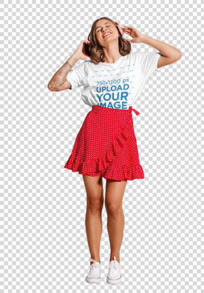Transparent T-Shirt Mockup of a Happy Woman Listening to Music Against a Colored Backdrop 39844-r-el2