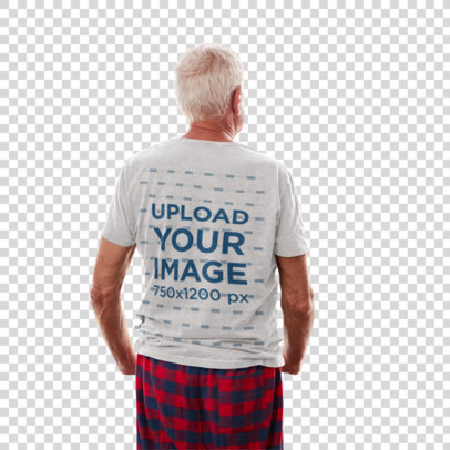 Transparent Back-View T-Shirt Mockup of a Senior Man at Home 38032-r-el2