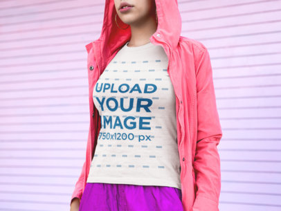 Transparent T-Shirt Mockup of a Cropped Face Woman Wearing Pink Clothing 18354