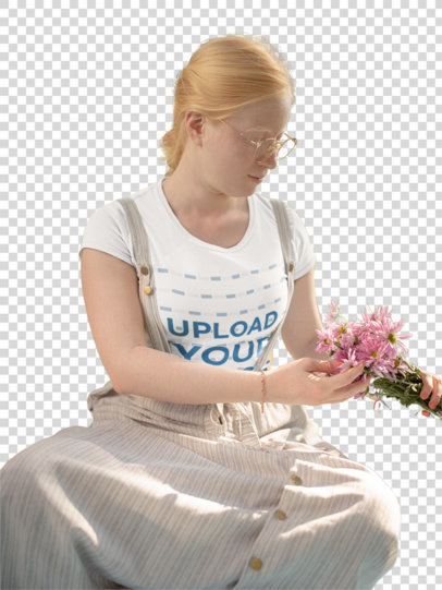 Transparent Mockup of a Woman Wearing a T-shirt at a Picnic 21998