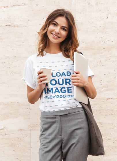 Transparent T-Shirt Mockup of a Young Woman Ready to Go to Work 39370-r-el2