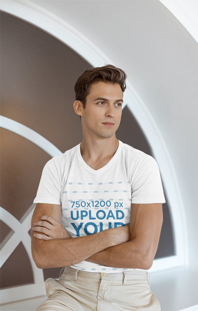 Transparent V-Neck T-Shirt Mockup of a Young Man Posing With His Arms Crossed 36434-r-el2