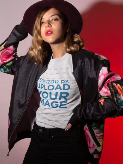 Transparent  T-Shirt Mockup Featuring a Woman Bomber Jacket 18598