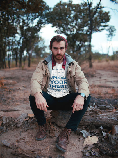 Transparent Man Crouching Wearing a Tshirt Mockup Outdoors a19031