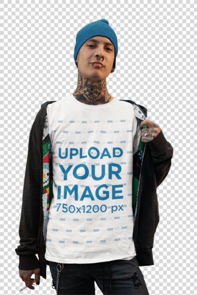 Transparent Mockup of an Edgy Man Smirking While Showing off His Tee 26486