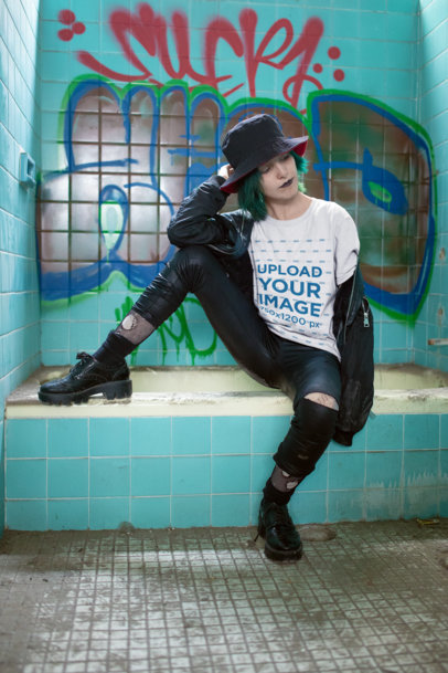 Transparent Mockup of a Goth Woman with Blue Hair Wearing a Tee 23438
