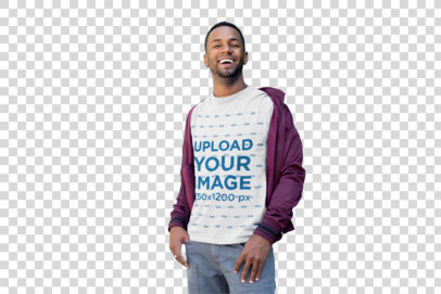Transparent T-Shirt Mockup of a Smiling Man with a Casual Look 25929