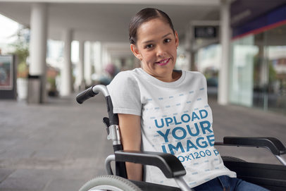 Transparent Round Neck Tee Mockup Featuring a Woman Sitting on a Wheelchair a21362