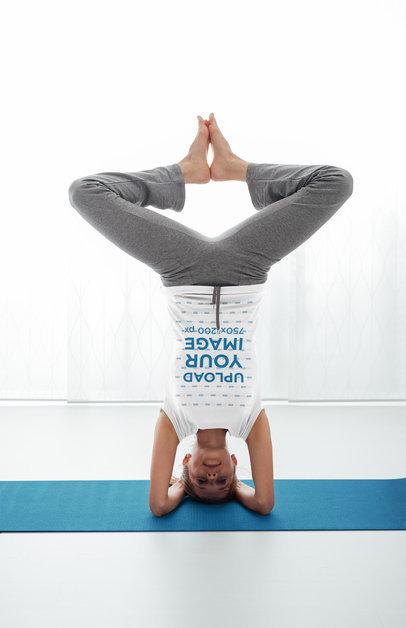 Transparent T-Shirt Mockup of a Woman Doing a Headstand 37077-r-el2