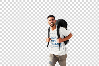 Transparent T-Shirt Mockup Featuring a Backpacker and the Sea in the Background 40086-rel2
