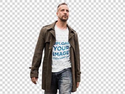 Transparent T-Shirt Mockup of a Man Walking Along a Railway a9371