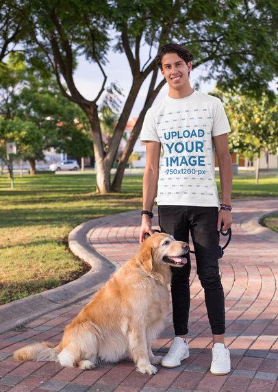 Transparent Shirt Mockup of a Man Taking a Walk with His Dog at a Park 28052