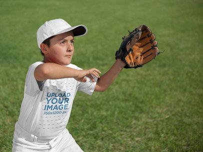 Transparent Baseball Uniform Designer - Kid About to Catch the Ball a16383