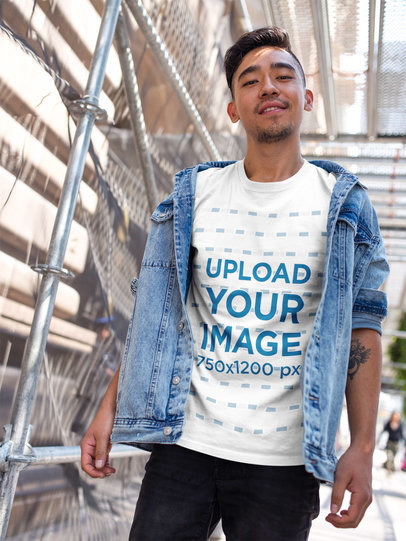 Transparent Asian Man Wearing a Tshirt Template While on a Bridge a17798