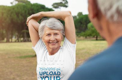 Transparent T-Shirt Mockup Featuring a Senior Woman Warming Up 39286-r-el2