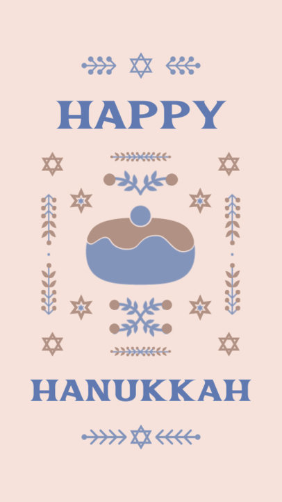 Instagram Story Template for a Blessed Hanukkah with Illustrated Graphics 4141e