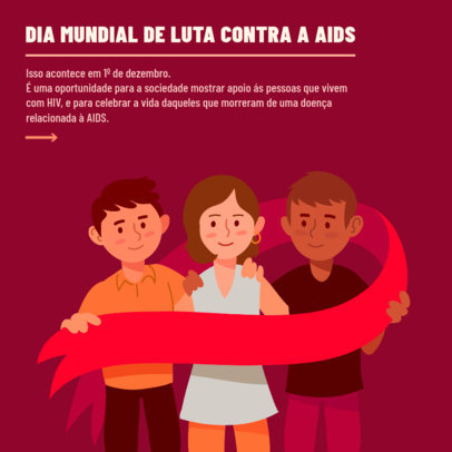Instagram Post Design Maker Featuring a World AIDS Day Theme and Illustrations 4153e