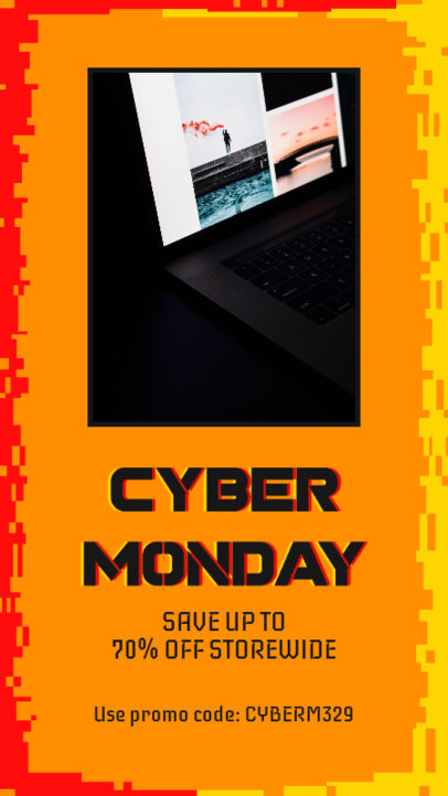 Facebook Story Template for Cyber Monday Featuring a Promo Code 4146e