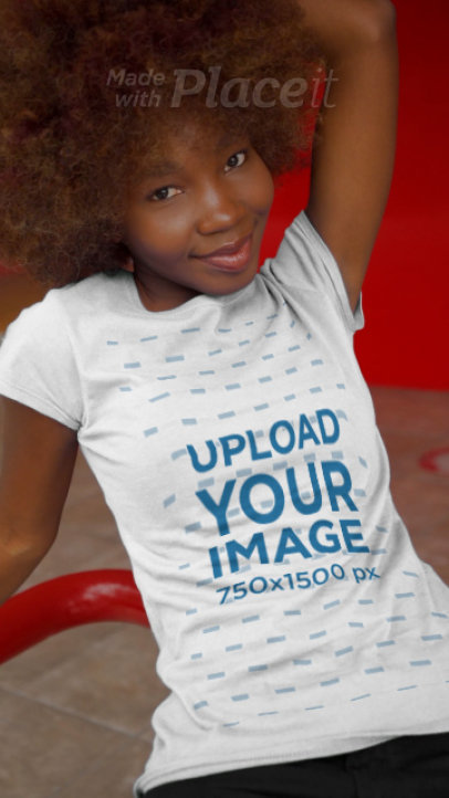 T-Shirt Video of a Happy Young Woman with Big Hair 3652v