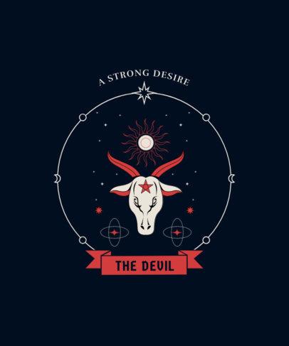 T-Shirt Design Template Featuring the Tarot Card of the Devil 4520d-el1