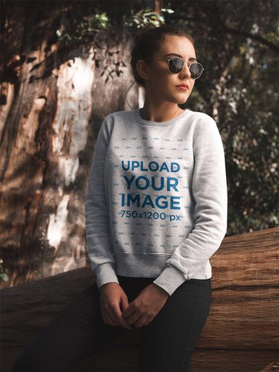 Pretty Girl in the Forest Wearing a Crew Neck Sweatshirt Template a17668
