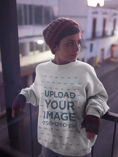 Pretty White Girl Wearing a Crew Neck Sweatshirt Template while on a Balcony a17931