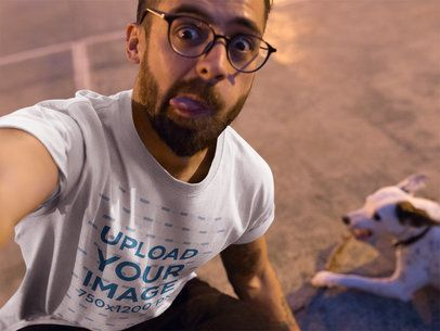 Selfie of a Dude Wearing a Tshirt Mockup while with his Dog a18031