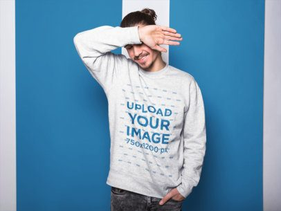 Long Haired Dude with Beard Wearing a Crewneck Sweatshirt Mockup While Blocking his Face a18530