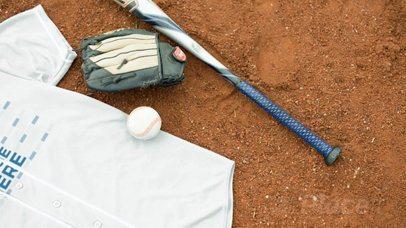 Baseball Uniform Builder - Jersey Lying on a Dirt Field a16933