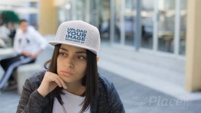 Young Hispanic Girl Wearing a Snapback Hat Video Hanging out at the Cafeteria a14207