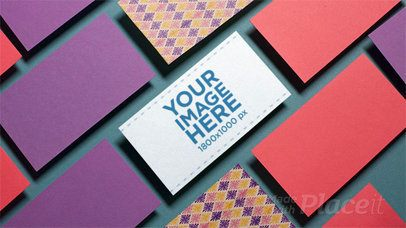 Stop Motion Mockup Of A Business Card Lying Over A Green Surface While Other Business Cards Around It Dissapear a13966b
