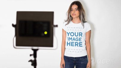Pretty Model Posing for a Photo Shoot Wearing a T-Shirt Stop Motion a13216